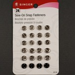 24 Assorted Sew-On Snap Fasteners by set (24 snaps), SIN-00199