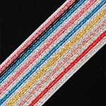 Metallic Striped Elastic Stretch Ribbon Trim by Yard, TR-11919