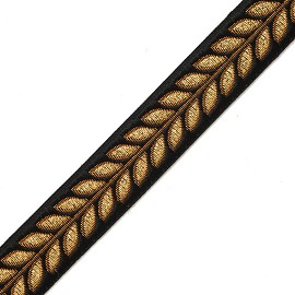 "3/4"" (19mm) Metallic Leaves Ribbon Trim by yard, MAY-7153"