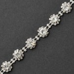 Rhinestone Flower Trim by yard, TR-11101