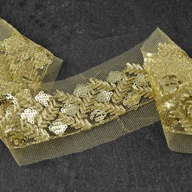 "2"" Metallic Sequin and Thread Trim by 1-Yard, SMB-1025"
