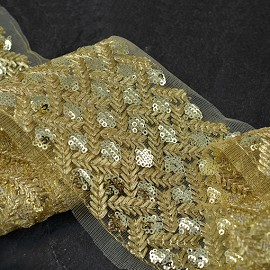 "4"" Metallic Sequin and Thread Trim by 1-Yard, SMB-1027"