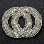 Silver Beaded Applique Patch by PC, FF-FF23