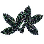 Leaf Beaded Applique Patch by PC, FF-FF566