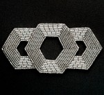 Silver Beaded Applique Patch by PC, FF-M2213
