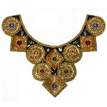 Beaded Sequins and Resin Rhinestone Neckline Applique by PC, FF-2101