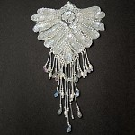 Beaded Sequin Lace Applique, Bridal Applique Patch by PC, ROI-75414