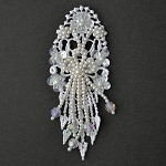 Pearl Beaded Sequin Applique, Bridal Applique by PC, TR-11080