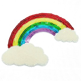 Sequin Rainbow in Chenille Clouds Iron-On Applique Patch by PC, TR-11847
