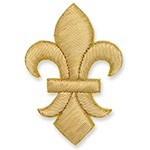 Fleur-De-Lis Crest Gold Applique Patch by PC, 3 Sizes, BDG-5095