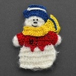 Snowman Mohair Crochet Applique by PC, CR-DES-MSN2