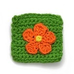 Flower Crochet Square Applique by PC, CR-DES-CBK22