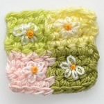Flower Squqre Quilt Crochet Applique by PC, CR-DES-CBK4
