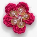 Flower Sequin Beaded Crochet Applique by PC, CR-DES-CD22