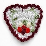 Heart Flower Crochet Applique by PC, CR-DES-CHB6