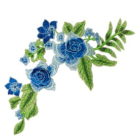 Blue Rose Floral Embroidery Iron-On Applique Patch by PC, TR-11530