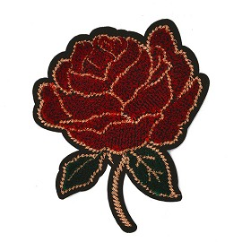 Rose Flower Embroidery Iron-On Applique Patch by PC, TR-11558