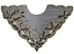 Beaded Metallic Embroidery Neckline Applique, Bridal Applique by PC, ROI-44339