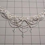Bridal Pearl Silver Beaded Applique by PC, FF-758B