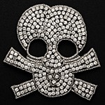 Rhinestone Beaded Skull Applique Patch by pc, TR-10623A