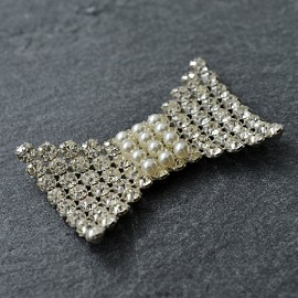 Rhinestone & Pearl Beads Bow Applique by PC, FF-14382