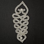 Rhinestone Beaded Applique, Beaded Patch by PC, FF-181