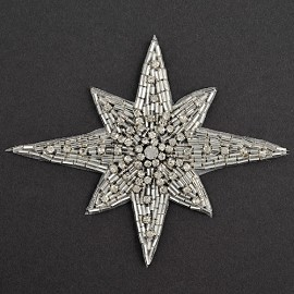 Star Rhinestone Beaded Applique, Beaded Patch by PC, FF-348