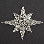 Star Rhinestone Beaded Applique, Beaded Patch by PC, TR-12145