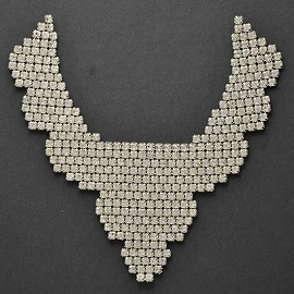 Rhinestones Neckline Applique Patch by PC, FF-499