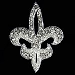 Fleur-de-lis Rhinestone Bead Applique, Rhinestone patch by PC, FF-6051