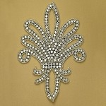 Fleur-De-Lis Crest Rhinestone Bead Applique, Rhinestone patch by PC, FF-920