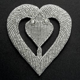 Heart Rhinestone Beaded Applique Patch, Bridal Applique by PC, FF-M2218