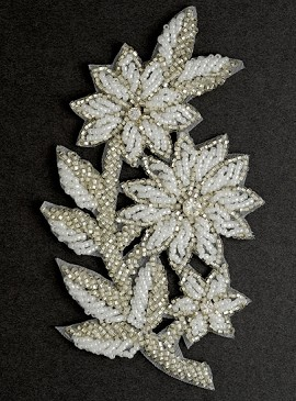 Rhinestone Beaded Flower Applique, Bridal Applique by PC, FF-SF-10