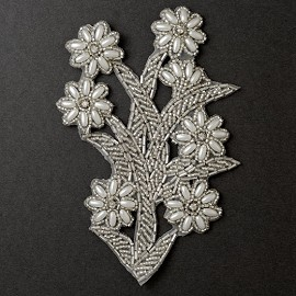 Rhinestone Pearl Beaded Flower Applique, Bridal Applique by PC, FF-SF-15