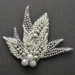 Pearl Beaded Applique, Bridal Applique by PC, FF-V303
