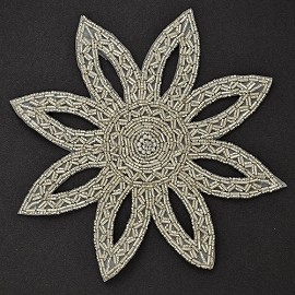 Rhinestone Pearl Beaded Applique Patch by PC, FF-1388