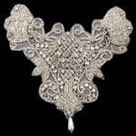 Rhinestones, Pearl & Beaded Neckline Applique Patch by PC, FF-6049