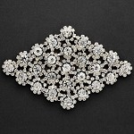 Diamond Shape Rhinestone Applique, Bridal Applique by PC, TR-10217