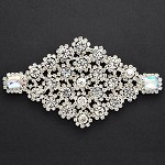 Diamond Shape Rhinestone Applique Patch, Bridal Applique by PC, TR-10219