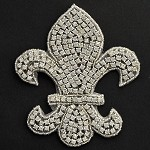 Fleur-de-lis Rhinestone Bead Applique, Rhinestone patch by PC, TR-10528
