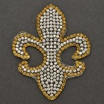 Fleur-de-lis Rhinestone iron-on Applique, Bridal Applique Patch by PC, TR-10948