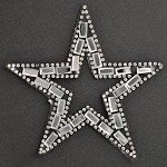 Star Rhinestone Beaded iron-on Applique, Bridal Applique Patch by PC, TR-10949