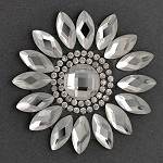 Rhinestone Beaded Flower Iron-on Applique, Bridal Applique Patch by PC, TR-10950