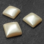 18mm Pearl Square Flatback Beads by 12pcs,  PRL-2009-SQURFB-18