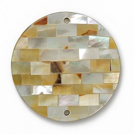 "2""  Mosaic Inlay Shell Pendant Bead by pc, SEE-SHE-1022"