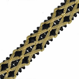 25mm Metallic Thread Braid Trim by Yard, STEP-4772