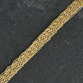 "3/8"" (10mm) Metallic Gold Netting Wired Mesh Trim by yard,  TR-11030"