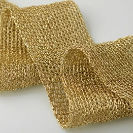 "2"" (50mm) Metallic Gold Netting Wired Mesh Trim by yard,  TR-11032"