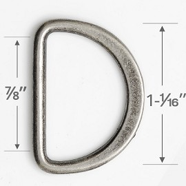 "7/8"" D-Ring Metal Buckle, A8028"