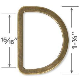 "1-1/4"" D-Ring Metal Buckle, A7958-3"